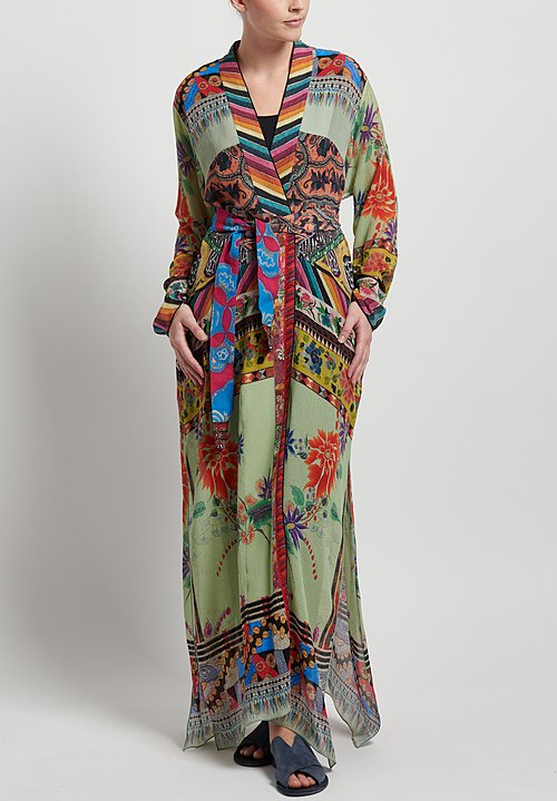 Etro Silk Patchwork Print Duster in Multi