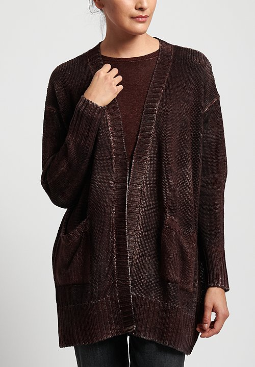 Avant Toi Linen Relaxed Cardigan in Chocolate