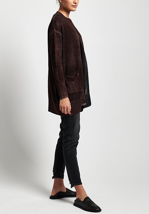 Avant Toi Linen Relaxed Cardigan in Nero/ Terre