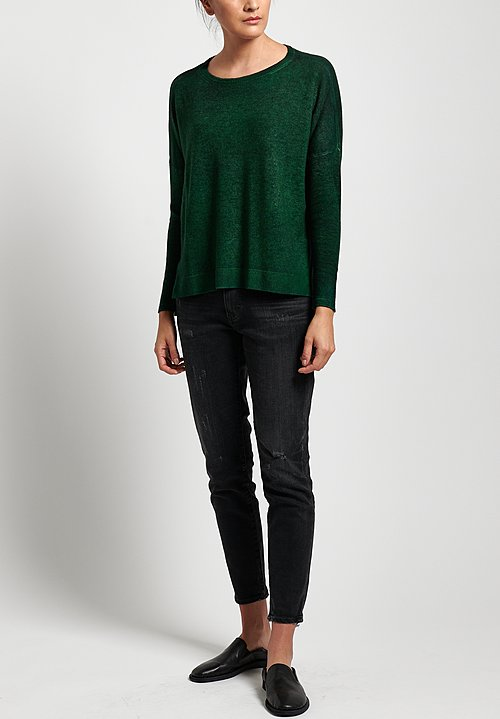 Avant Toi Lightweight Oversized Cashmere Sweater in Nero/ Smeraldo