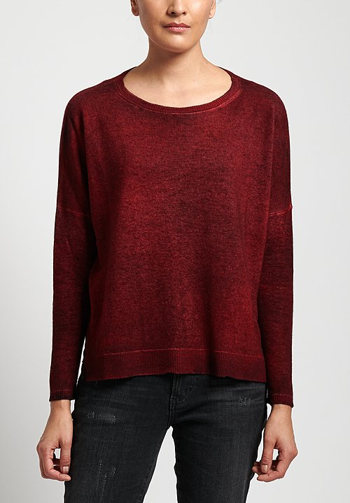 Avant Toi Lightweight Oversized Cashmere Sweater in Nero/ Melograno