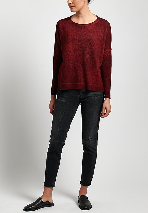 Avant Toi Lightweight Oversized Cashmere Sweater in Garnet