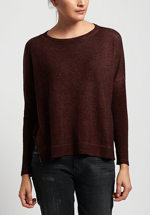 Avant Toi Lightweight Oversized Cashmere Sweater in Nero/ Terre