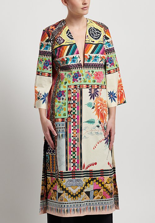 Etro Cotton Patchwork Print Shift Tunic in Multi