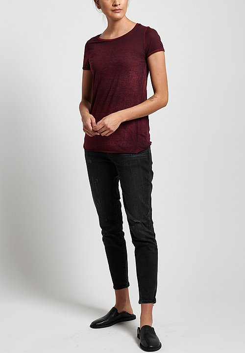 Avant Toi Cotton Jersey Tee in Mahogany