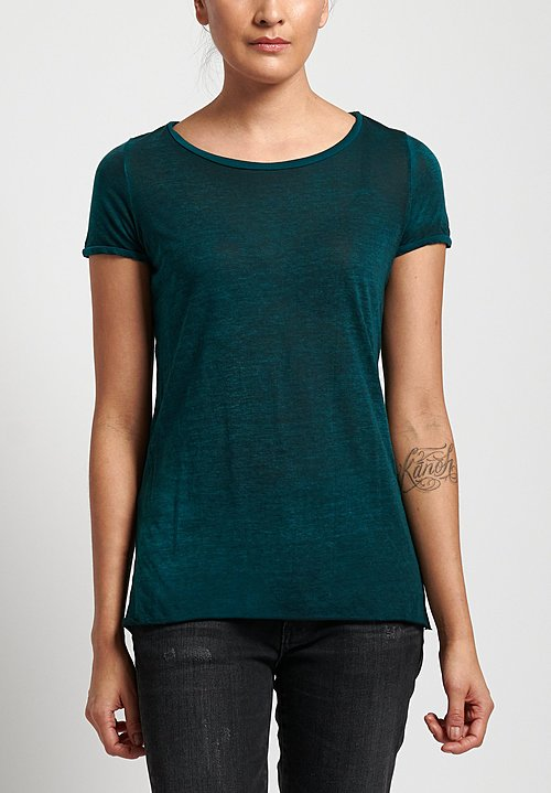 Avant Toi Cotton Jersey Tee in Nero/ Provence