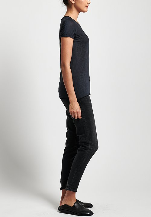 Avant Toi Cotton Jersey Tee in Nero/ Blu Navy