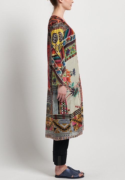 Etro Cotton/ Silk Patchwork Print Kaftan in Multi