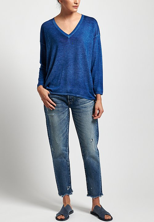 Avant Toi Lightweight Cashmere/ Silk V-Neck Sweater in Denim