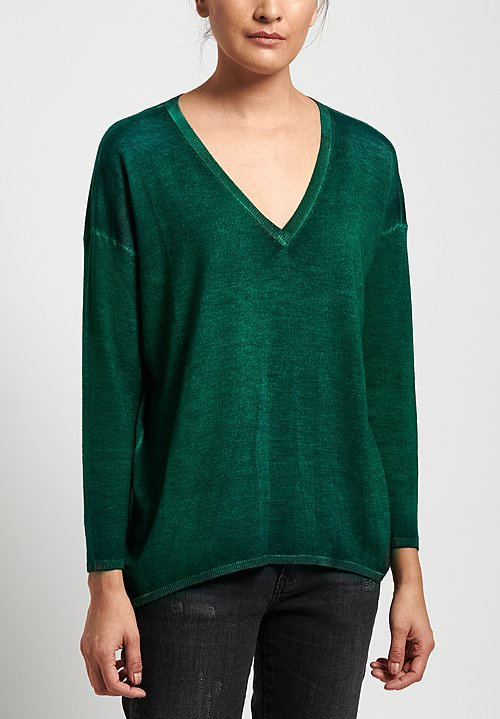 Avant Toi Lightweight Cashmere/ Silk V-Neck Sweater in Nero/ Smeraldo