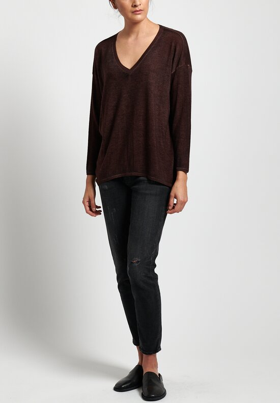 Avant Toi Lightweight Cashmere/ Silk V-Neck Sweater in Nero/ Terre