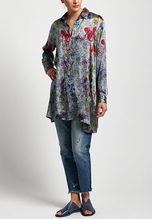 Avant Toi Silk Oversized Floral Blouse in Grey