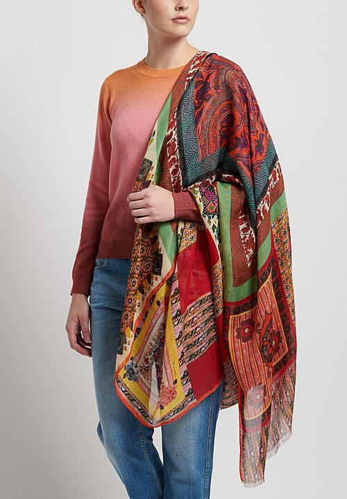 Etro Mosaic Tile Scarf in Multi