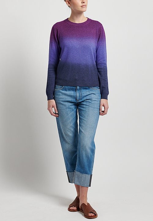 Etro Wool/ Cashmere Crew Neck Sweater in Purple