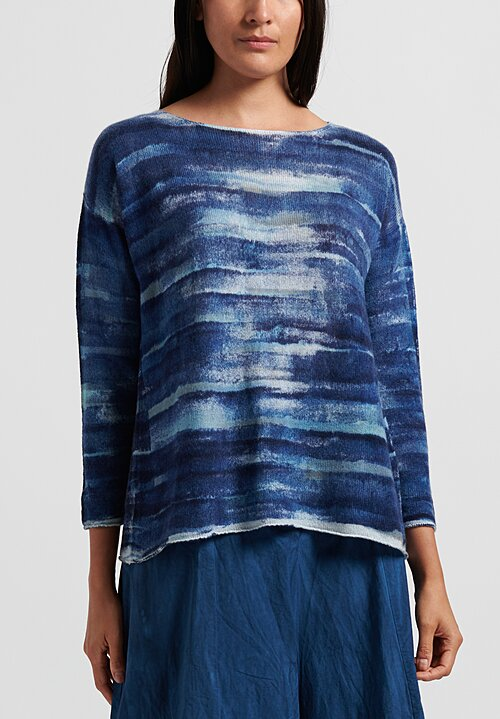 f Cashmere Hand Painted Sweater in Navy
