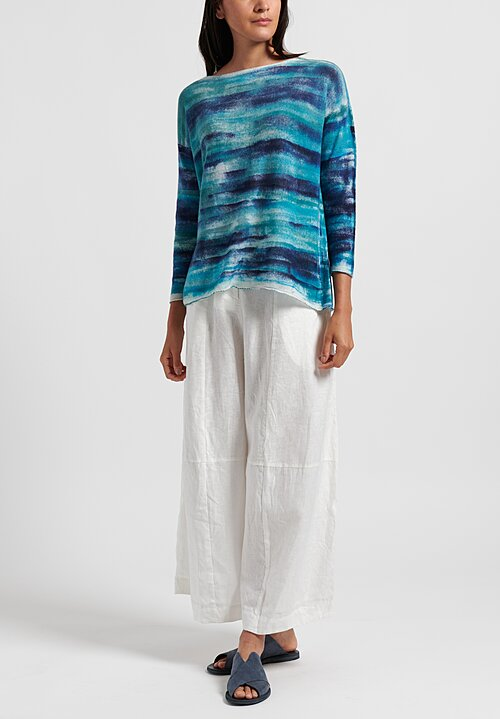 f Cashmere Hand Painted Sweater in Aqua