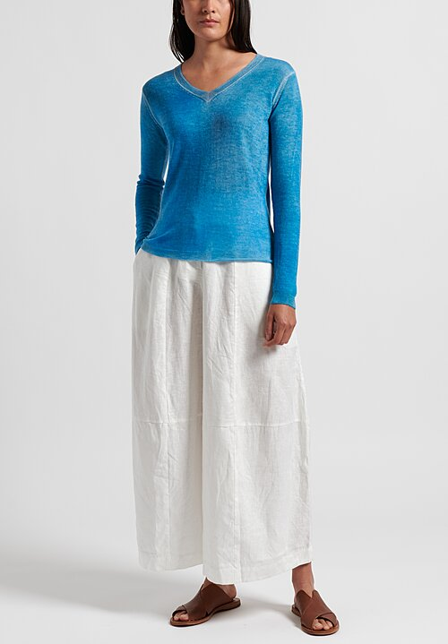 f Cashmere Flapper V-Neck Sweater in Blue
