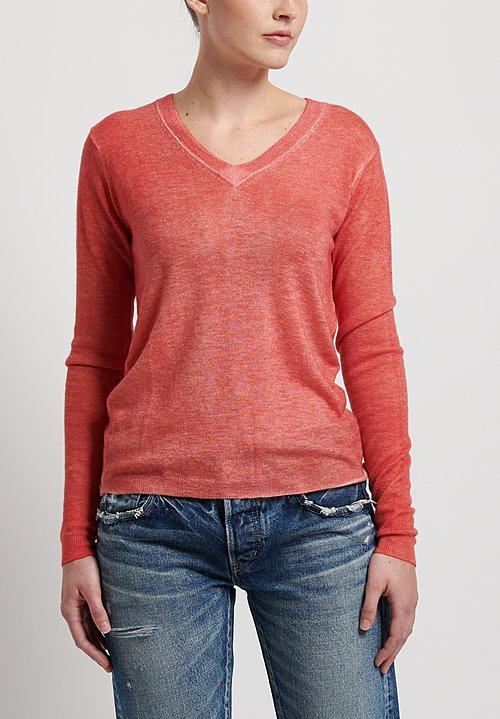 f Cashmere Flapper V-Neck Sweater in Red