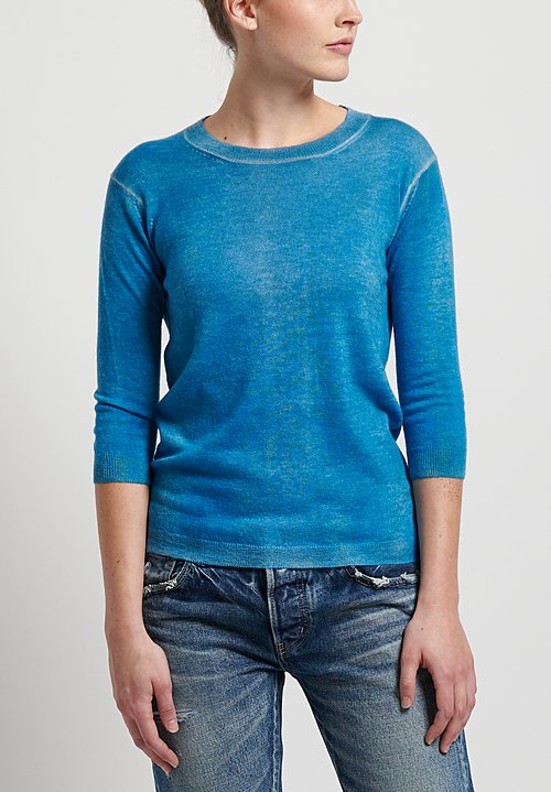 f Cashmere Flapper Crew Neck Sweater in Blue