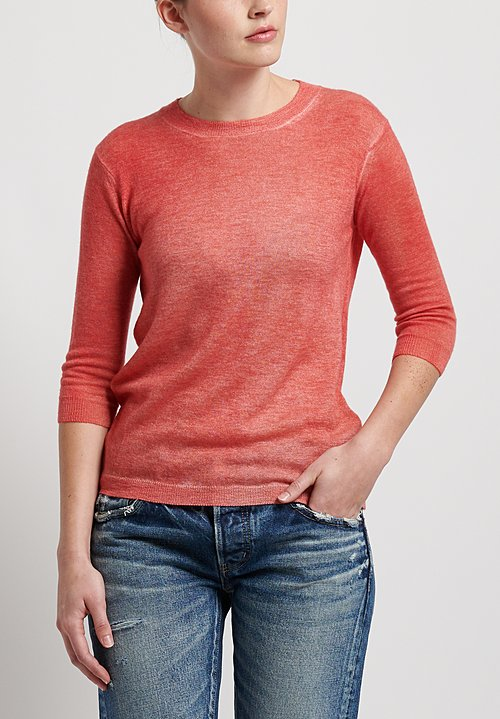 f Cashmere Flapper Crew Neck Sweater in Red