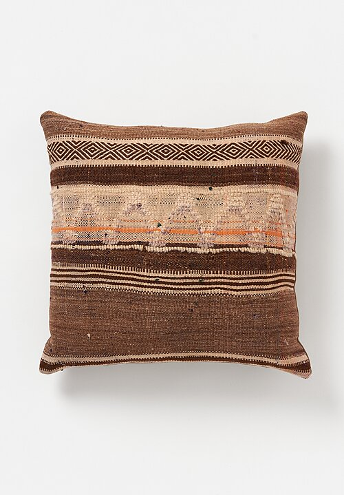 Maison S Wool Vintage Hand Loomed Moroccan Diamond Pattern Square Pillow Tan
