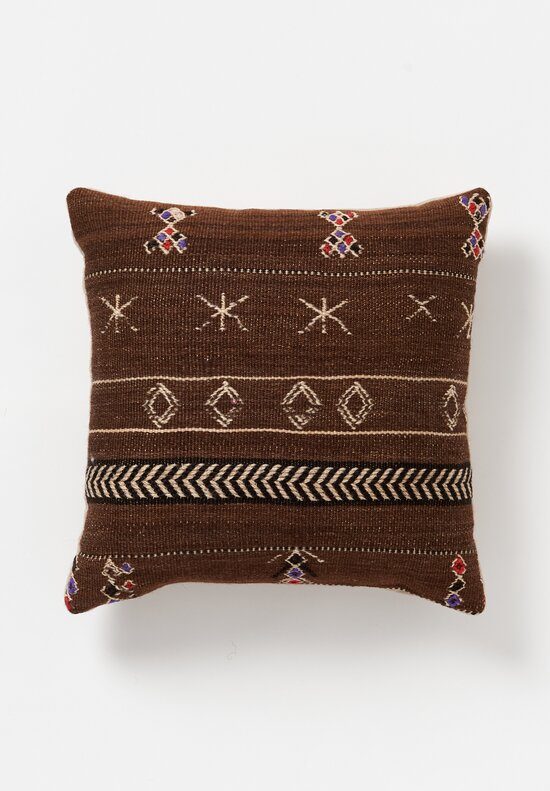 Antique and Vintage Wool Hand Loomed Moroccan Square Pillow with Embroidery in Brown