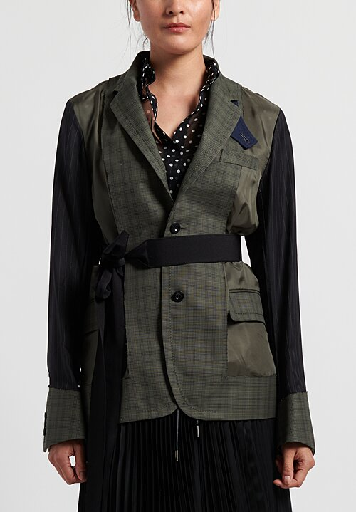 Sacai Cotton Glencheck Deconstructed Blazer