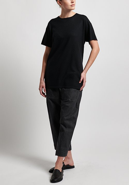 Frenckenberger Cashmere Normal T-Shirt in Black
