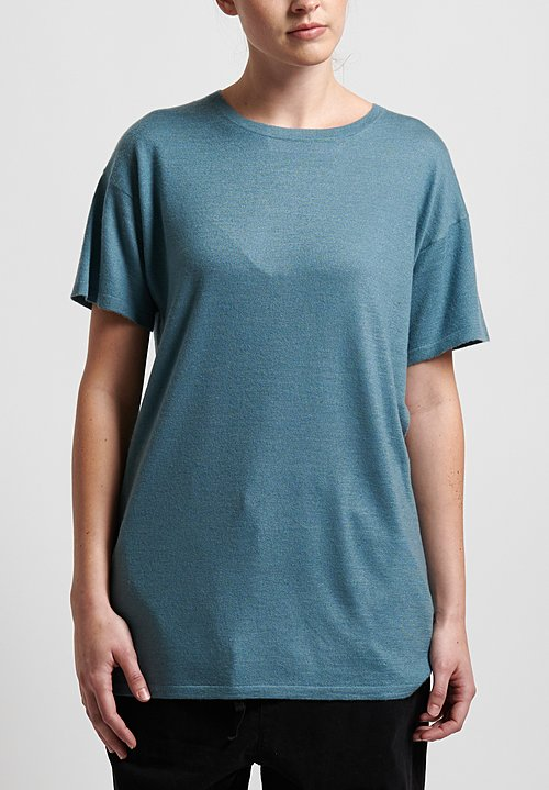 Frenckenberger Cashmere Normal T-Shirt in Sky Blue