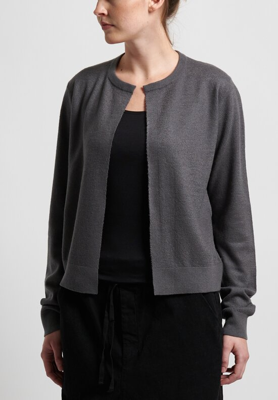 Frenckenberger Cashmere Mini Cardigan in Gun