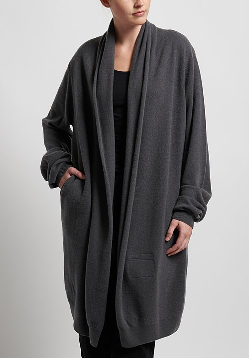 Frenckenberger Cashmere Straight Cardigan in Gun