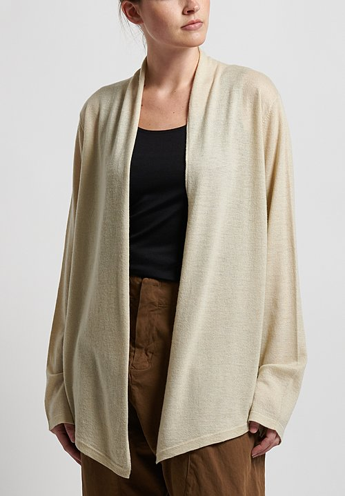 Frenckenberger Cashmere Simple Cardigan in Chalk