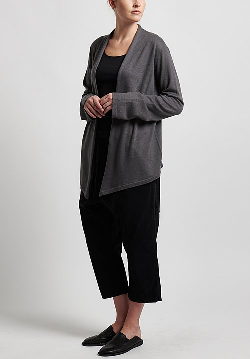 Frenckenberger Cashmere Simple Cardigan in Gun