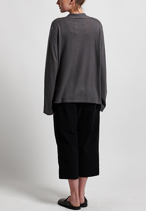 Frenckenberger Cashmere Simple Cardigan in Grey