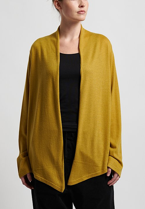 Frenckenberger Cashmere Simple Cardigan in Golden