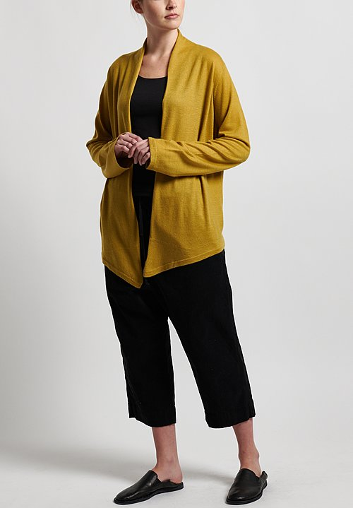 Frenckenberger Cashmere Simple Cardigan in Gold