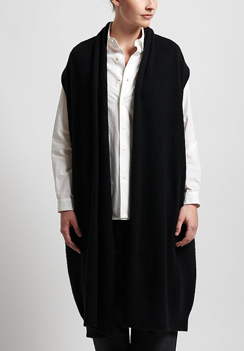 Frenckenberger Cashmere Sleeveless Straight Cardigan in Black