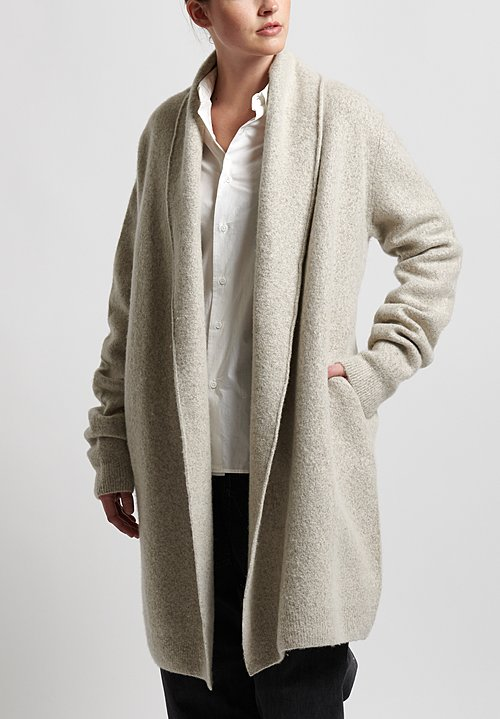 Frenckenberger Cashmere Felted Straight Cardigan in Hazel
