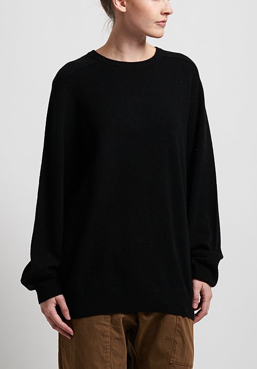 Frenckenberger Cashmere Boyfriend Sweater in Black
