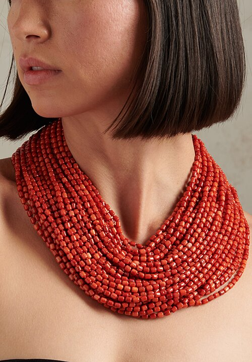 Monies UNIQUE 40-Strand Coral & Ebony Necklace