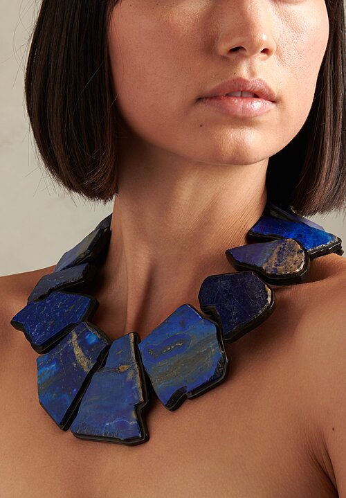 Monies UNIQUE Lapis & Ebony Slab Necklace