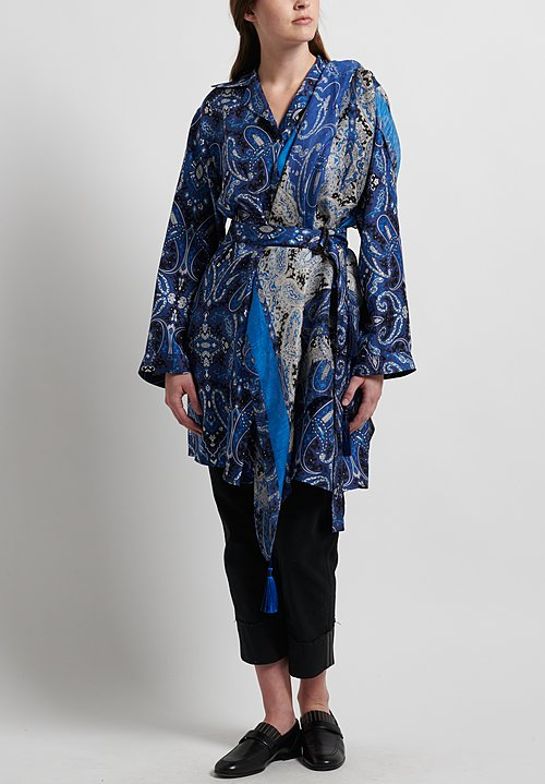 Etro Silk Paisley Print Tunic in Blue