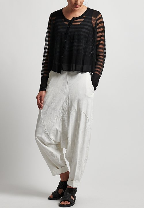 Rundholz Black Label Sheer & Stripe Cardigan in Black