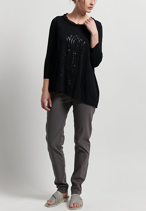 Rundholz Black Label Cotton Paint Splatter Top in Black Print