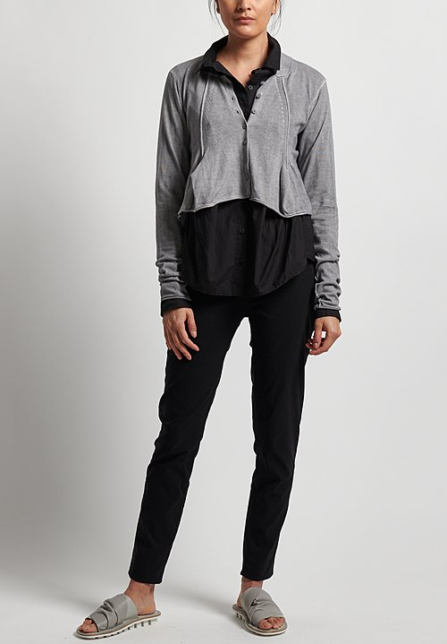 Rundholz Black Label Cotton Short Button Front Cardigan in Pebble