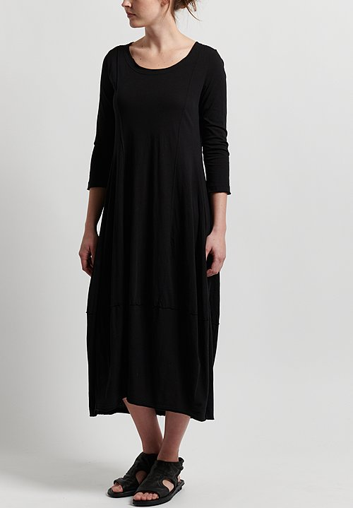 Rundholz Black Label Cotton 3/4 Sleeve Scoop Neck Dress in Black