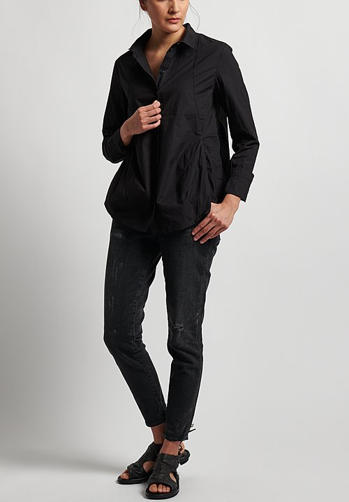 Rundholz Black Label Button Front Shirt in Black