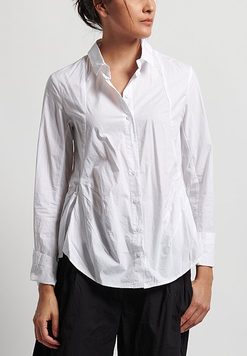 Rundholz Black Label Cotton Button Front Shirt in White