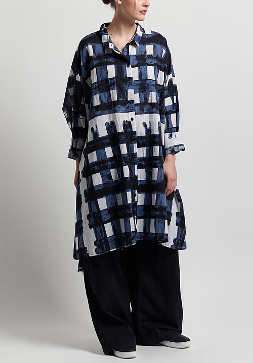 Rundholz Black Label Oversize Painted Check Tunic in Martinique