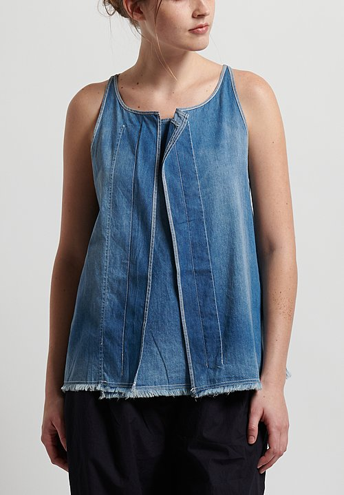Rundholz Black Label Denim Sleeveless Top in Indigo